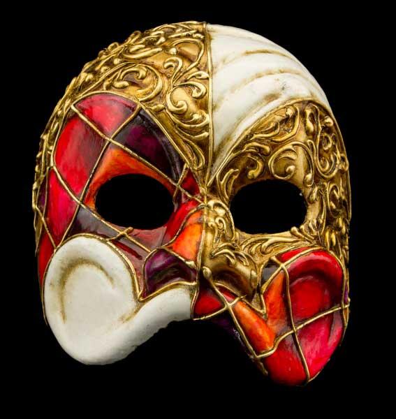 Masque De Venise Arlequin Rouge Orange Papier Mache Pr Homme Haut De