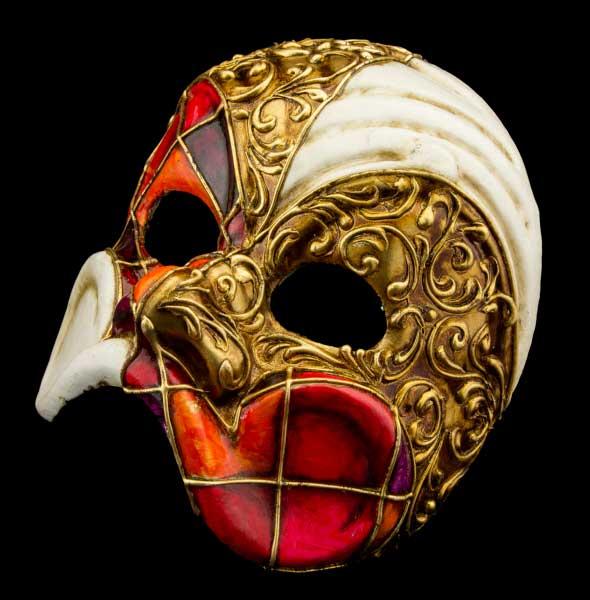 Mache Pr Arlequín Papel Veneciana Man Top Naranja Rojo Máscara wOPlkTXiuZ