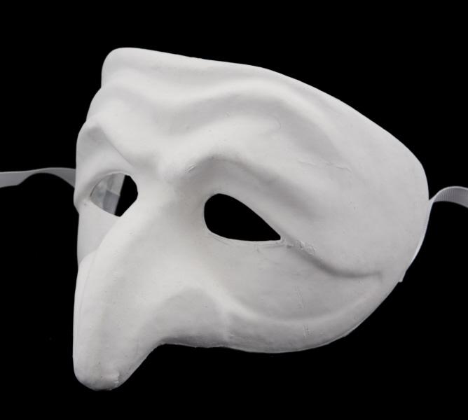 Masque De Venise A Peindre Pucinella En Papier Mache Masque Blanc Masque A Peindre Masque Neutre