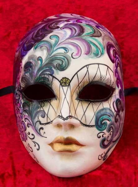 Super remise couleur n brillante dégagement Masque de Venise Volto Collection Retro en Papier Mâché Carnaval venitien  2469