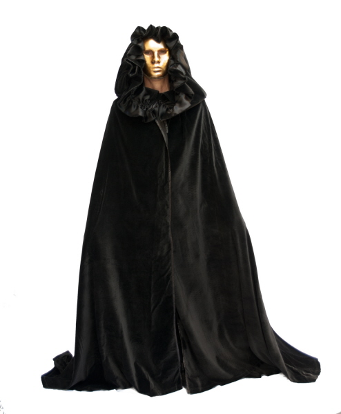 cape venitienne noire costume venitien cape carnaval de venise cape avec capuche cape en. Black Bedroom Furniture Sets. Home Design Ideas