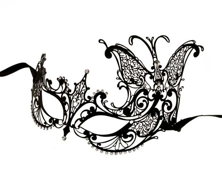 Masque venitien loup papillon en dentelle de metal noir - Masque papillon carnaval ...