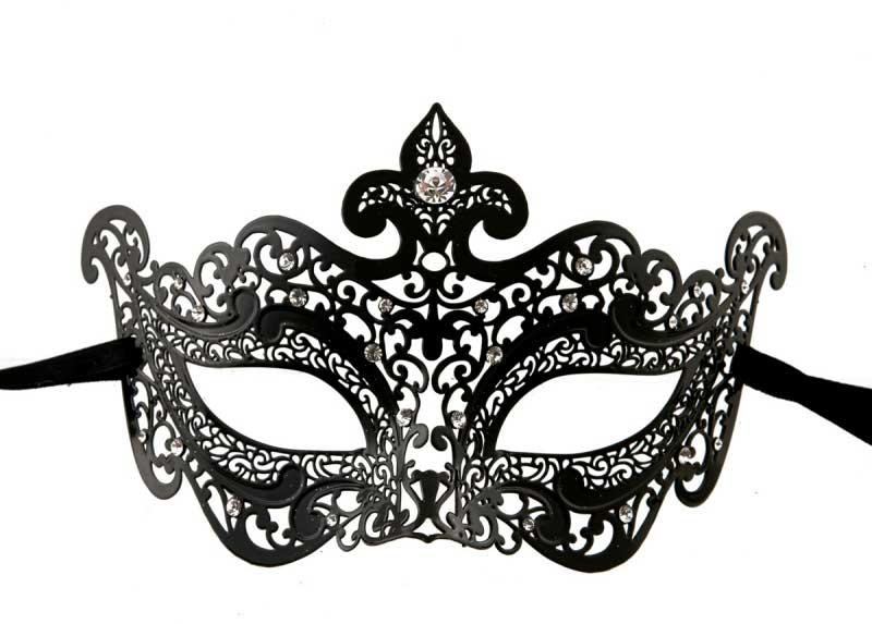 Masque de venise loup dea venitien dentelle de metal noir - Masque venitien a imprimer ...