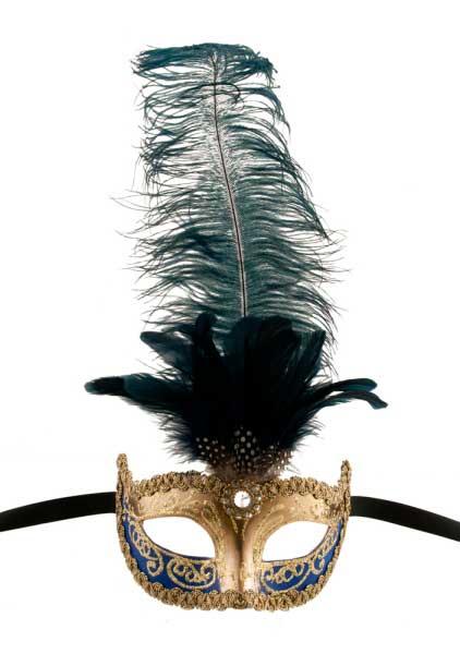 masque de venise colombine a plumes autruche bleu dore masques plumes masque a plume. Black Bedroom Furniture Sets. Home Design Ideas