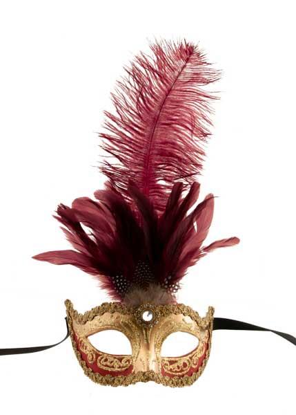 masque de venise colombine a plumes autruche rouge dore masques plumes masque a plume. Black Bedroom Furniture Sets. Home Design Ideas