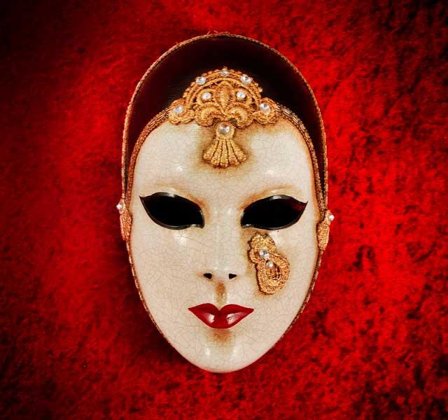 Masque de venise volto pierrot macrame en papier mache 1658 - Masque papier mache ...