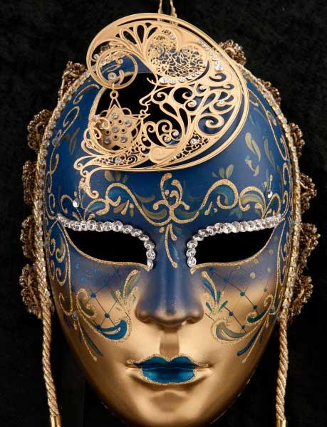 Masque de venise visage lune en papier mach et metal - Masque venitien decoration ...