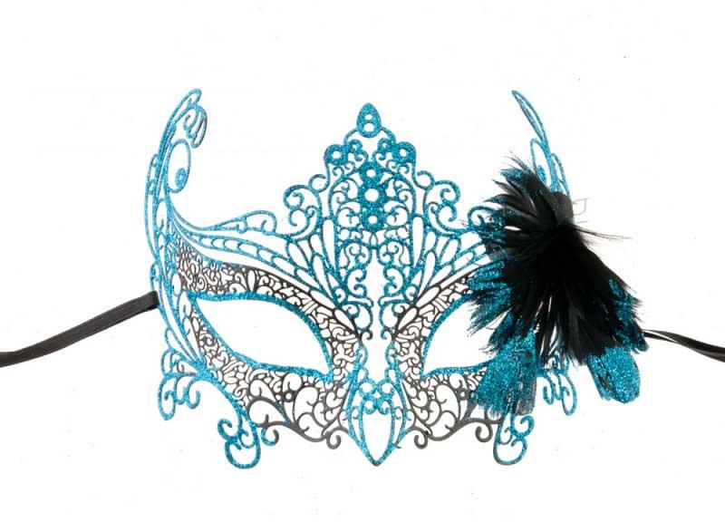 Masque de venise zelia en metal bleu turquoise plumes - Masque venitien a imprimer ...