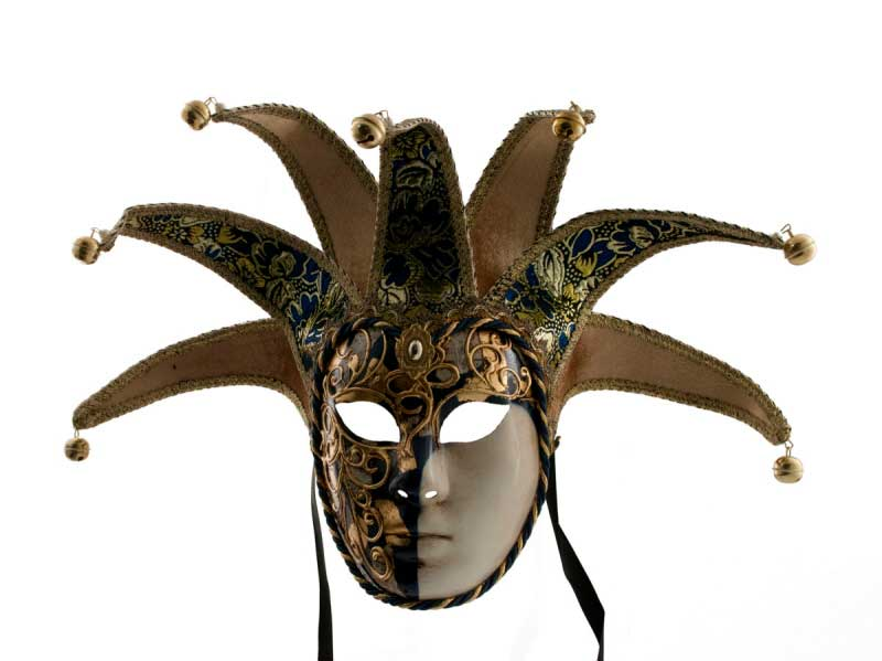 masque venitien jolly a pointes bleu et dore bal masqu soir e masques de venise masques jolly. Black Bedroom Furniture Sets. Home Design Ideas