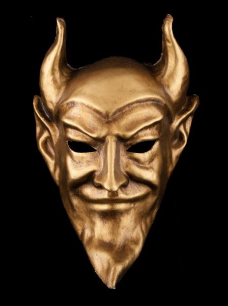 Masque venitien diable diavolo dore authentique en papier mache - Masque papier mache ...