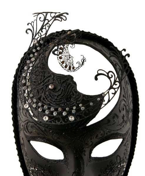 masque de venise visage noir en papier mach et metal masque dentelle masque venitien. Black Bedroom Furniture Sets. Home Design Ideas