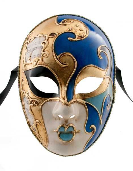 Masque venitien volto milo bleu et dore bal masqu ou pour - Masque venitien a imprimer ...