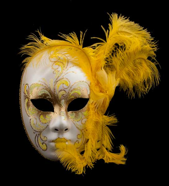 masque visage venitien plumes jaune masques de venise plumes masque de gala masque. Black Bedroom Furniture Sets. Home Design Ideas