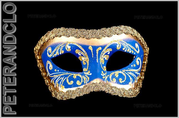 Masque de venise loup colombine bleu et dore masques - Masque venitien a imprimer ...