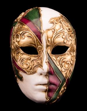 Masque de Venise Visage Volto doré en papier mâché 2262 V50